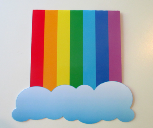 Rainbow invitation for a paint & color birthdayparty