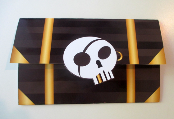 Treasure chest invitation for a pirate-themed birthday party