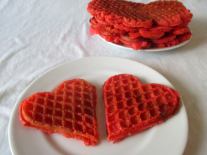 Delicious red Valentines waffles