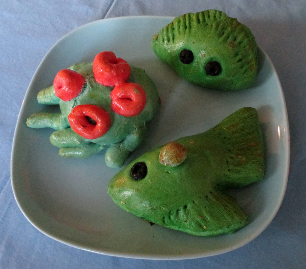 Pierogi figures for a diving party